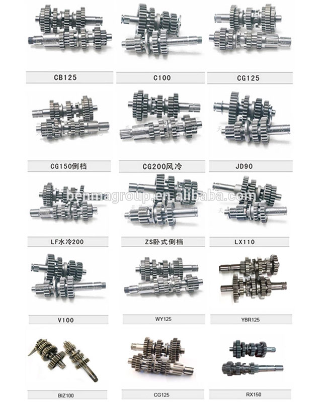 CG125 / CG150 Gearbox Motorcycle Engine Spare Parts Transmission Kits Main / Counter Shaft